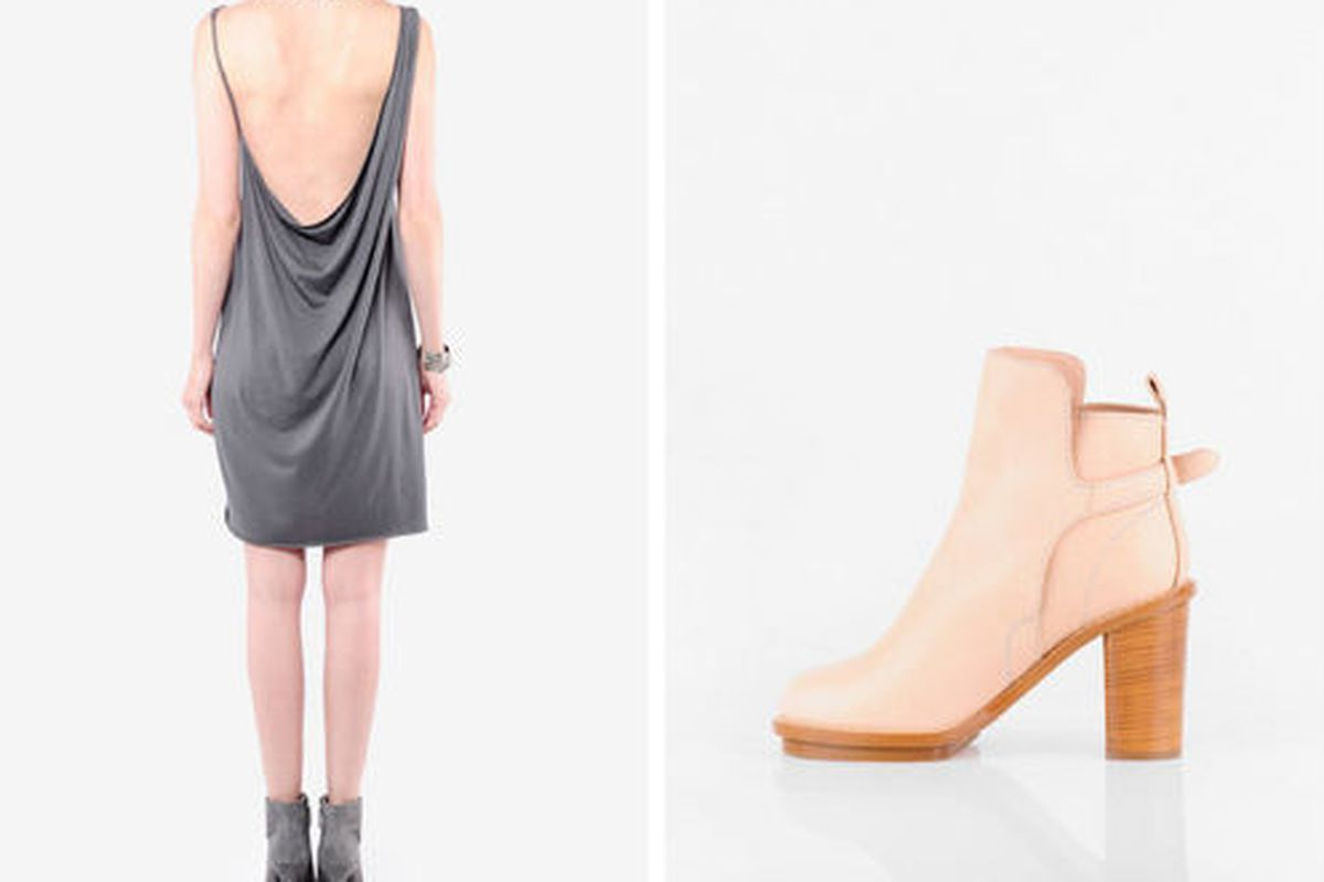 """<a href=""""http://www.tobi.com/product/36296-helmut-lang-feather-jersey-low-back-dress?color_id=45086"""">Helmut Lang, Feather jersey dress, $70 (was $150), and </a><a href=""""http://www.tobi.com/product/36055-acne-jeans-cypress-buckle-ankle-boots?color_id"""