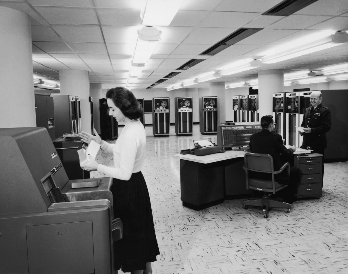 An office with IBM computing equipment in the 1950s.