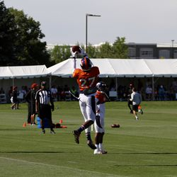 Broncos S Brandian Ross goes up for a ball during drills at training camp.