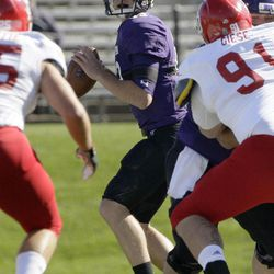 Northwestern quarterback Trevor Siemian (13) looks to a pass during the first half of an NCAA college football game against South Dakota in Evanston, Ill., Saturday, Sept. 22, 2012.
