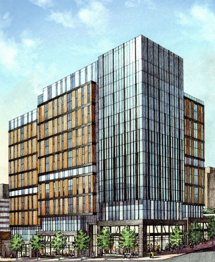 A rendering shows a glassy, segmented tower with wood accents.
