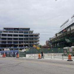 Wide view of plaza building from the corner of Clark & Addison -