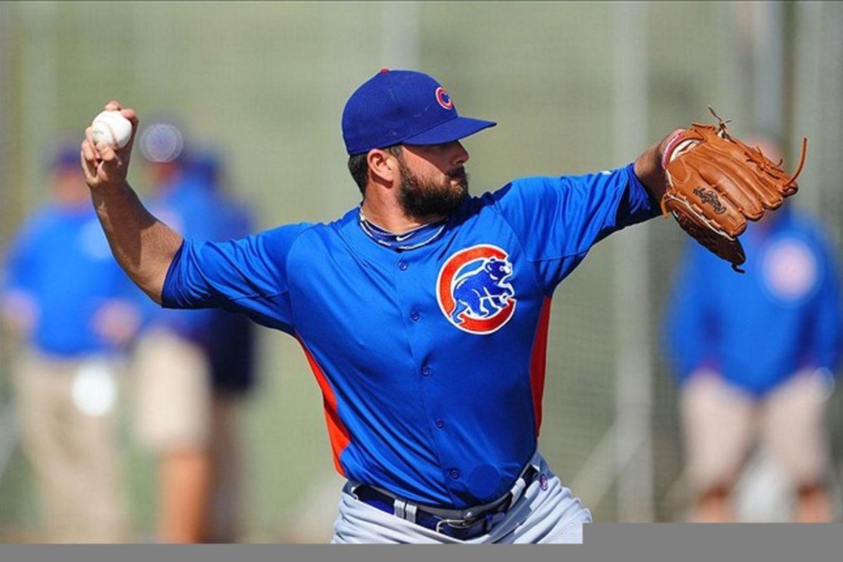 Mesa, AZ, USA; Chicago Cubs pitcher Trey McNutt during spring training workouts at Fitch Park.  Credit: Mark J. Rebilas-US PRESSWIRE