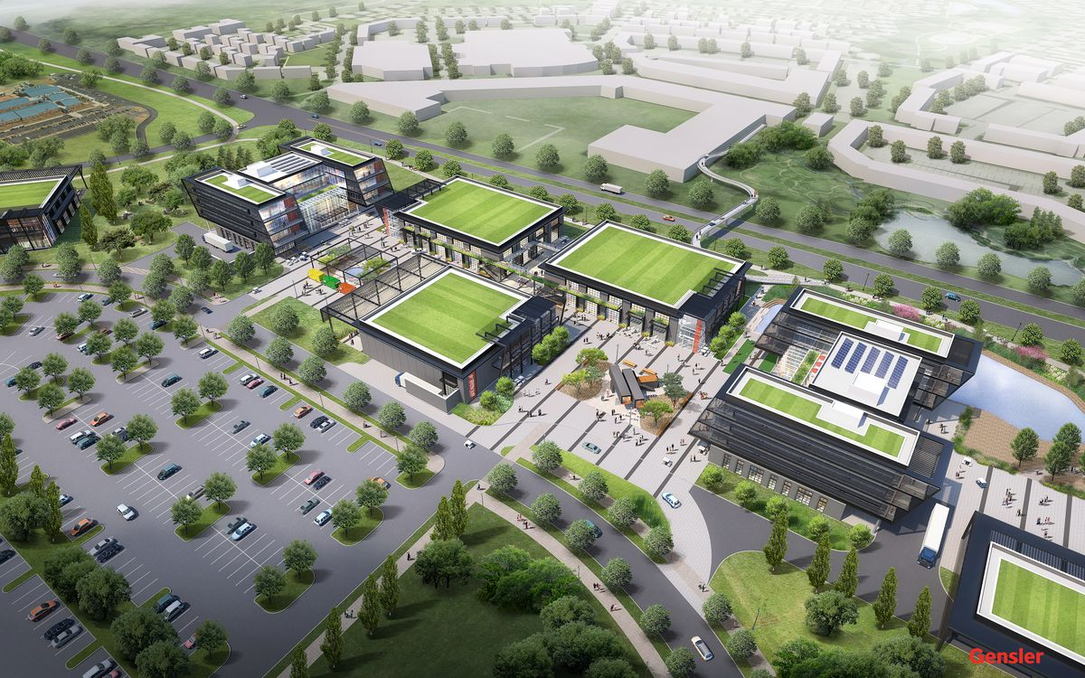A rendering of new buildings with green rooftops.