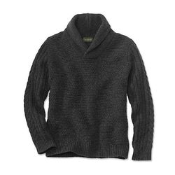 """<strong>Barbour</strong> Grain Shawl Collar Sweater in Charcoal, <a href=""""http://www.orvis.com/store/product.aspx?pf_id=8R7E"""">$179</a> at Orvis"""