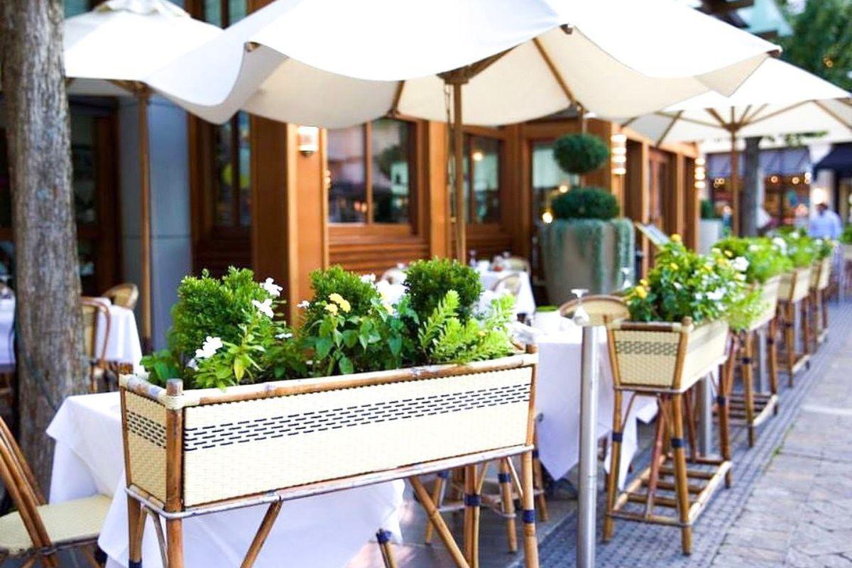 The Parisian-like patio at Le Bilboquet located at Buckhead Village District shopping complex