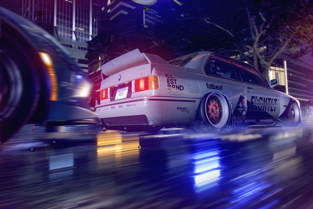 a nighttime racing scene from Need for Speed Heat