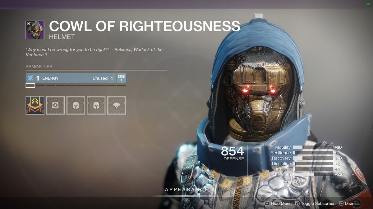 Destiny 2's Cowl of Righteousness