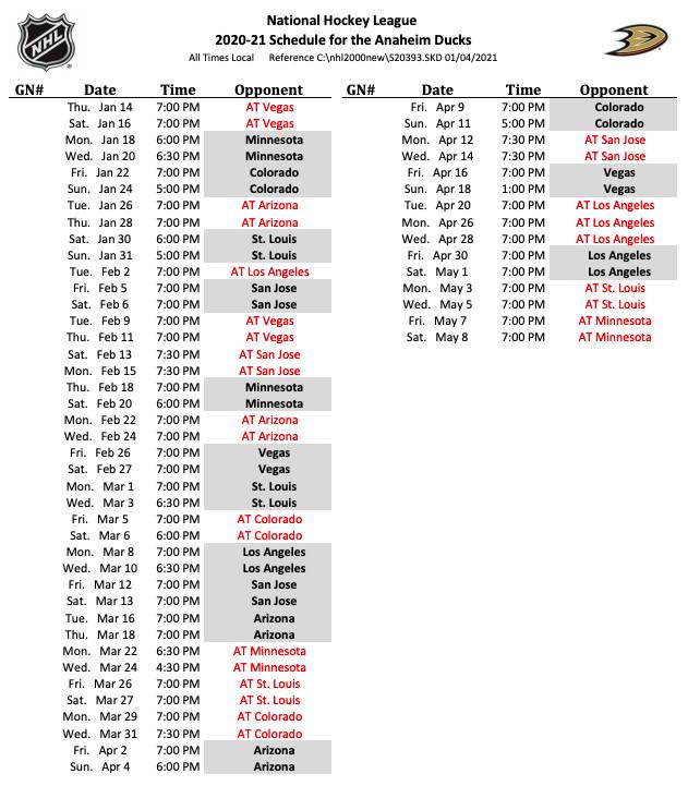 Anaheim Ducks 2021 game schedule