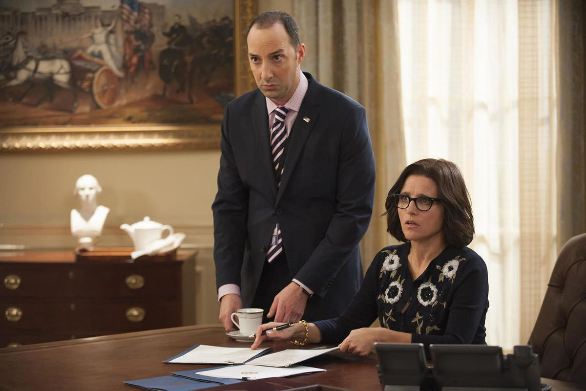 """In this image released by HBO, Tony Hale, left, and Julia Louis-Dreyfus appear in a scene from the comedy series, """"Veep,"""" which will now be free to stream during social distancing."""