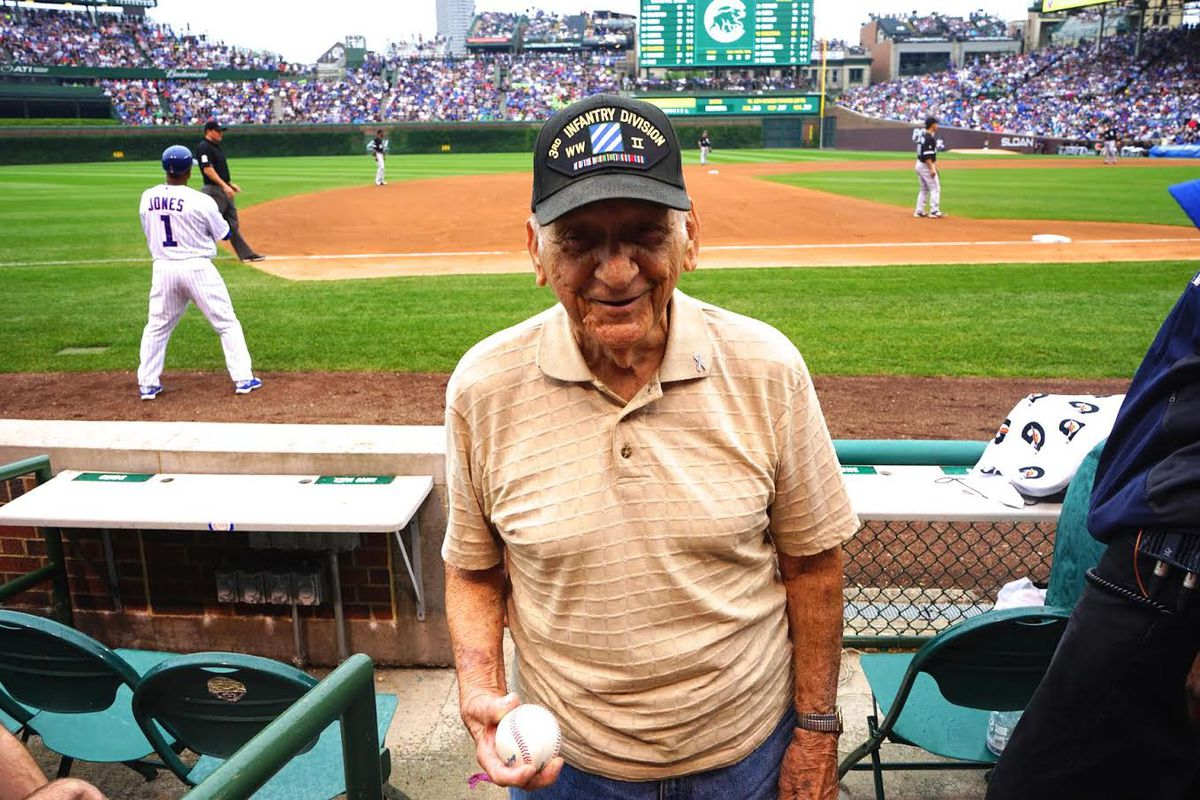 Arnold Massier was honored at Wrigley Field in 2015 at a Cubs-White Sox game.