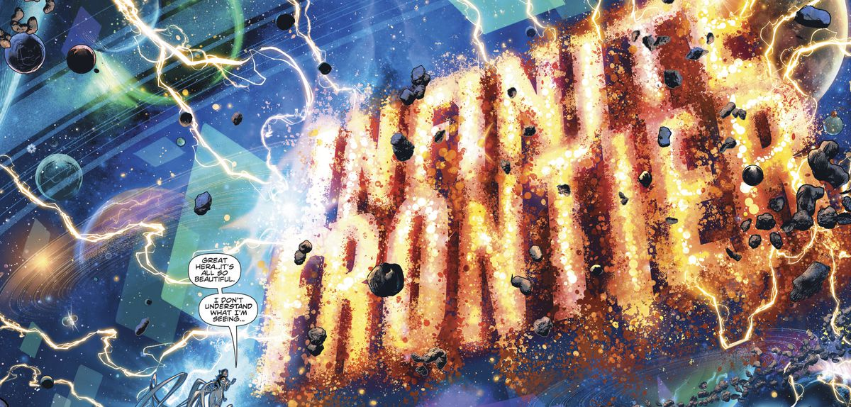 """""""It's all so beautiful,"""" Wonder Woman says, """"I don't understand what I'm seeing,"""" as she looks out on a cosmic landscape crowned with the massive, crackling words """"Infinite Frontier"""" in Infinite Frontier #0, DC Comics (2021)."""