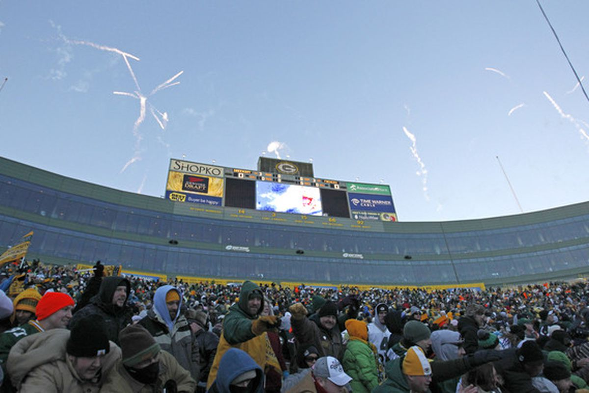 GREEN BAY WI - FEBRUARY 08:  Fireworks are shot off over Lambeau Field following the Packers victory ceremony on February 8 2011 in Green Bay Wisconsin.  (Photo by Matt Ludtke/Getty Images)