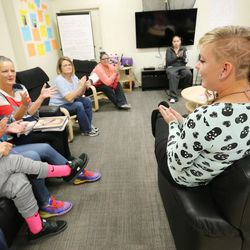 Intensive Supervision client Amanda Newsome, right, talks with other clients at Valleycore for Women in Salt Lake City on Thursday, Oct. 6, 2016.