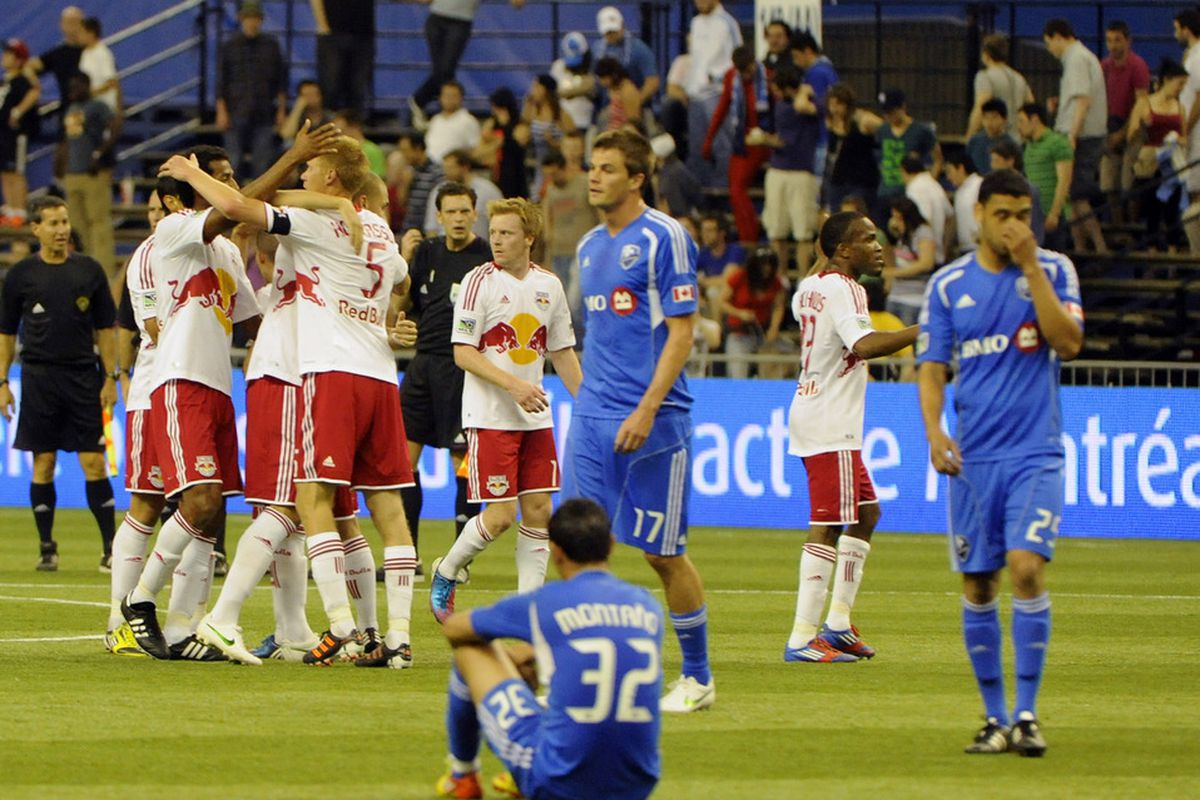 May 19, 2012; Montreal, QC, Canada;  New York Red Bulls celebrate the 2-1 win over the Montreal Impact during the second half at the Olympic Stadium.  Eric Bolte-US PRESSWIRE