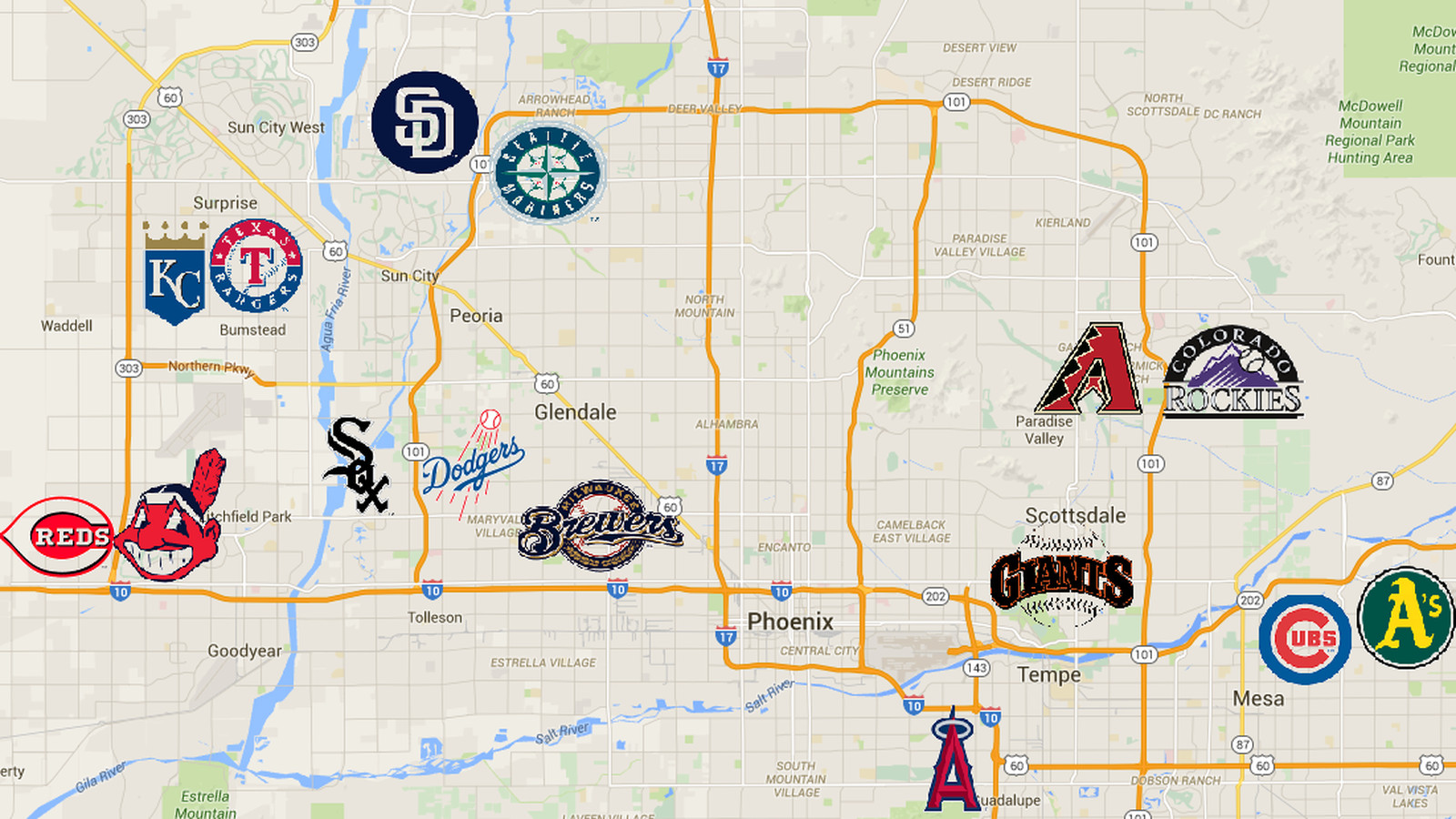 A handy map of the Cactus League stadiums - Halos Heaven