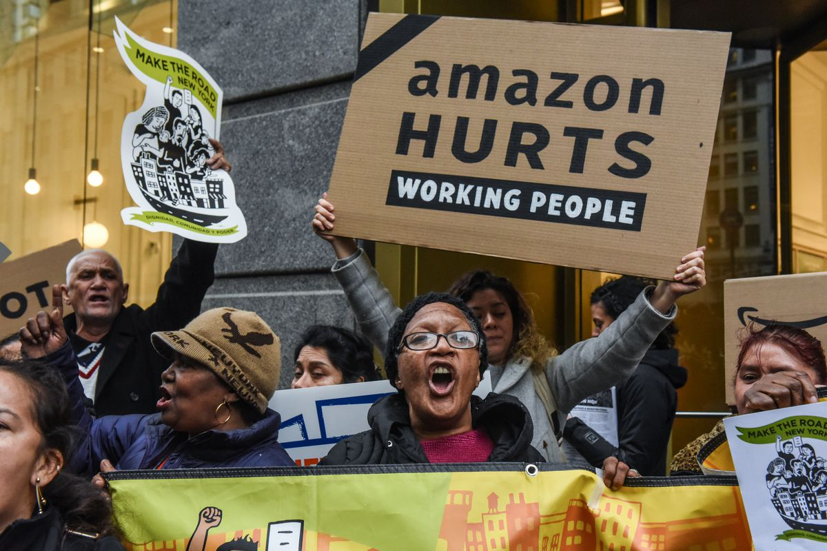 Image result for anti-Amazon protests in new york , pictures