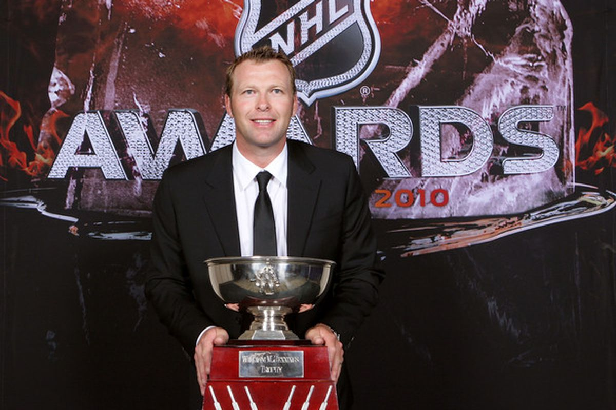 Martin Brodeur earned the Williams Jennings trophy in 2009-10.  (Photo by Bruce Bennett/Getty Images)