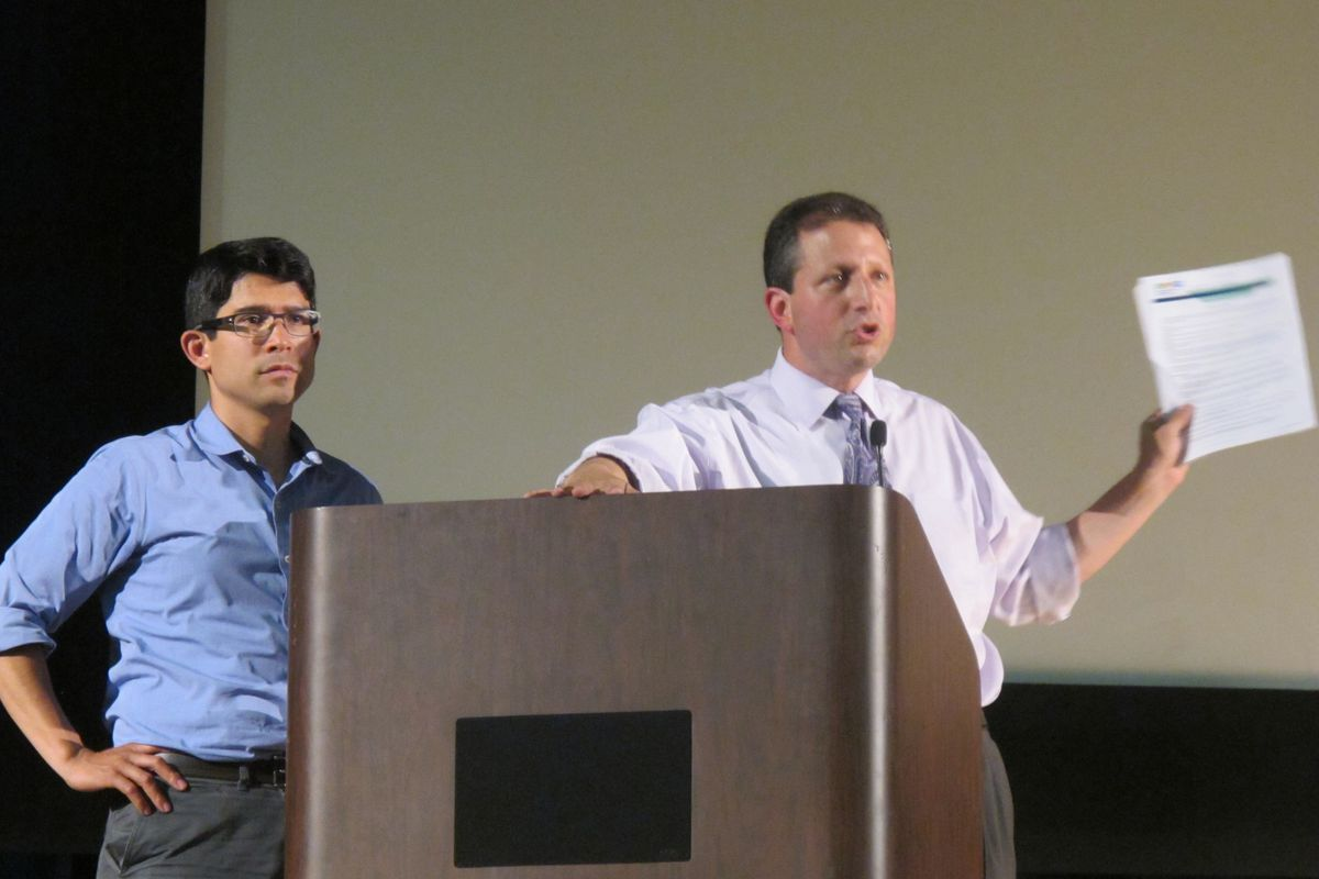 City Council members Carlos Menchaca (left) and Brad Lander hosted a parents forum in 2014 to discuss diversity in schools.