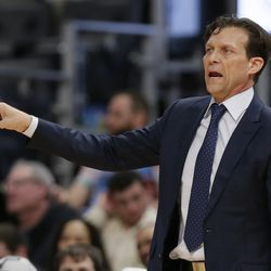 Utah Jazz head coach Quin Snyder directs his team during the second half of an NBA basketball game against the Detroit Pistons Saturday, March 7, 2020, in Detroit. The Jazz defeated the Pistons 111-105.