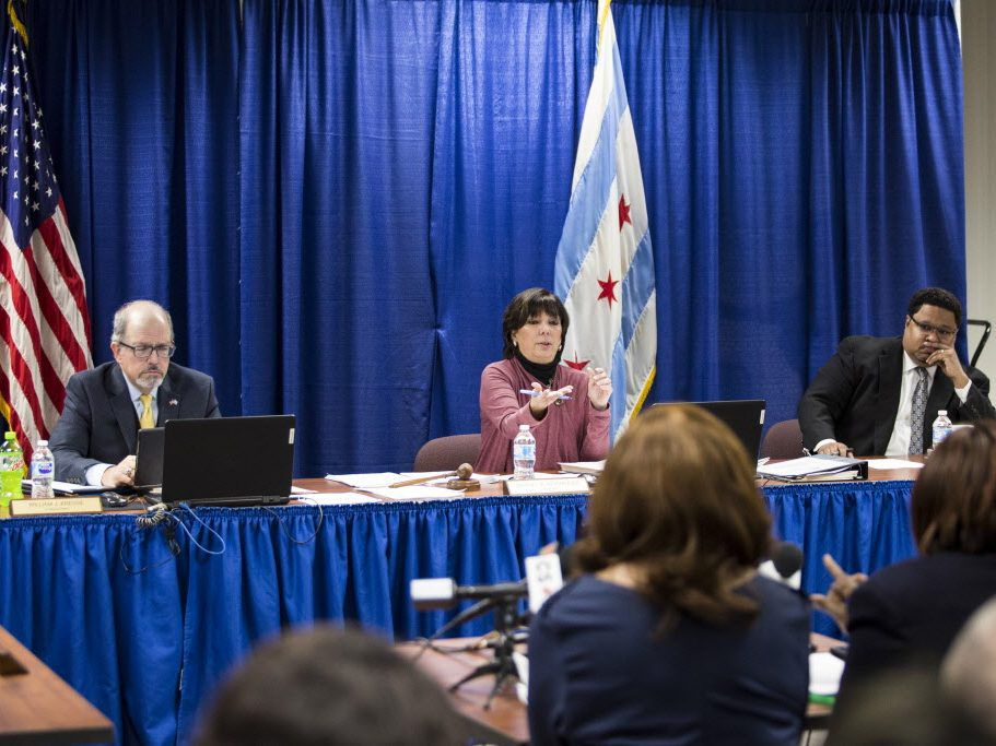 Clerk of the Circuit Court Dorothy Brown (right) and one of her attorneys, Mable Taylor, speak during a hearing before the Chicago Board of Election Commissioners, Tuesday morning, Jan. 22, 2019. | Ashlee Rezin/Sun-Times