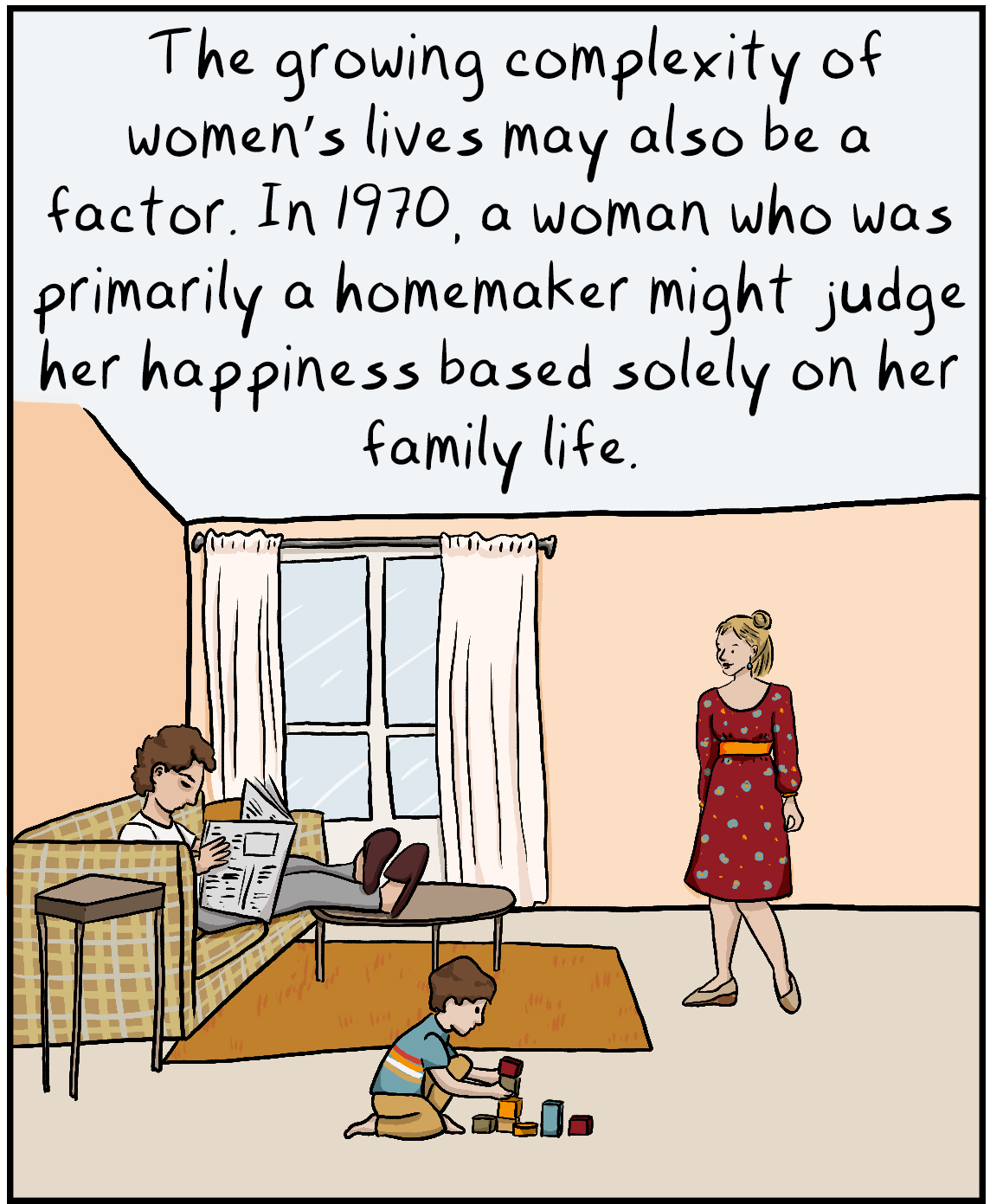 The growing complexity of women's lives may also be a factor. In 1970, a woman who was primarily a homemaker might judge her happiness based solely on her family life.