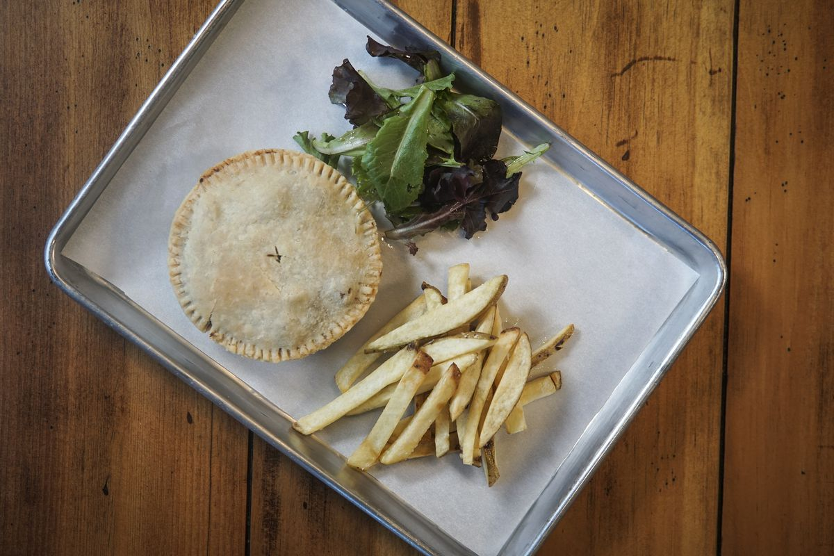 A meat pie and fries from Darcy's Donkey