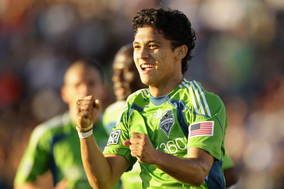 SANTA CLARA CA - JULY 31:  Fredy Montero #17 of the Seattle Sounders FC celebrates after he scored a goal against the San Jose Earthquakes at Buck Shaw Stadium on July 31 2010 in Santa Clara California.  (Photo by Ezra Shaw/Getty Images)