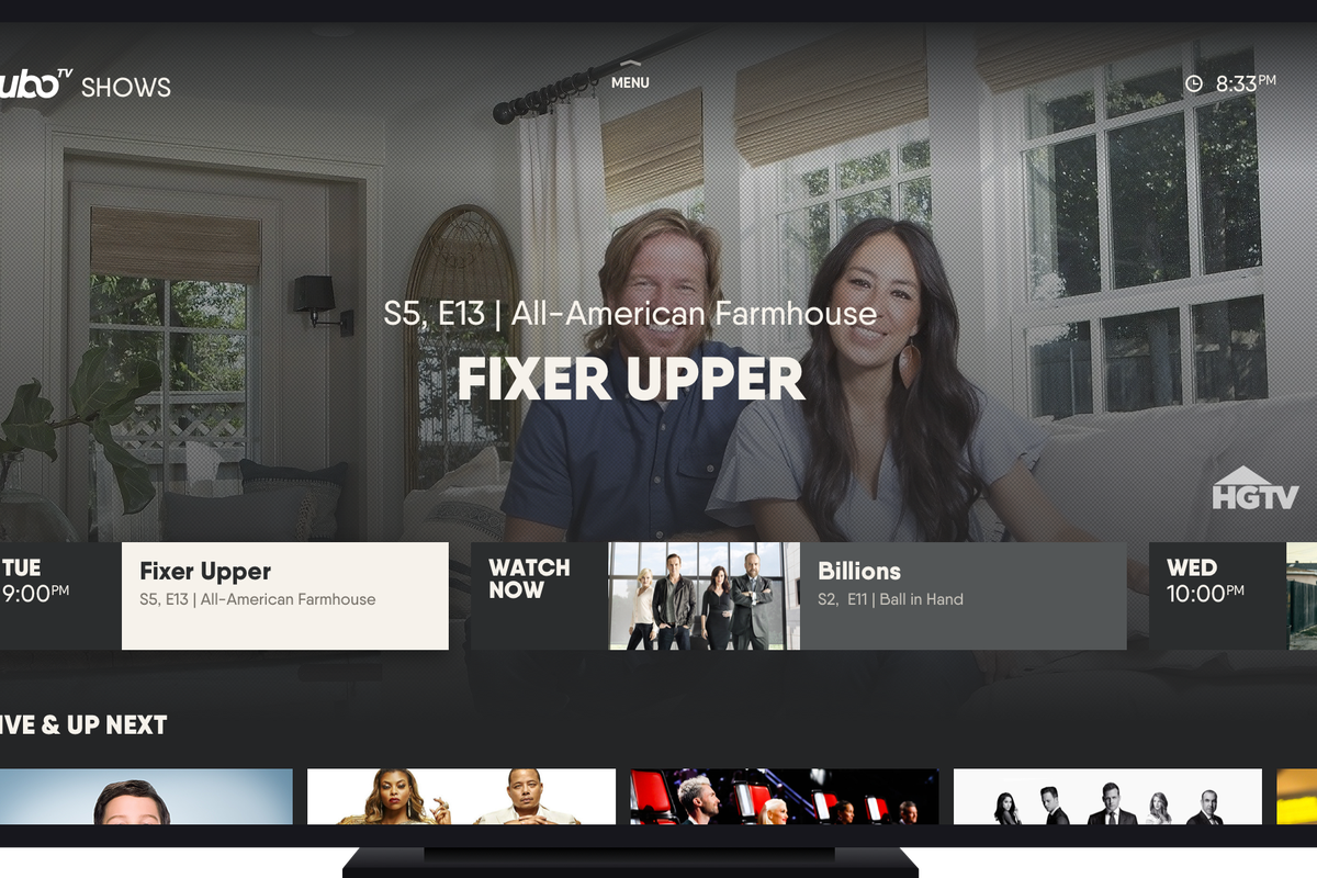 """FuboTV screenshot showing Chip and Joanna Gaines of """"Fixer Upper."""""""
