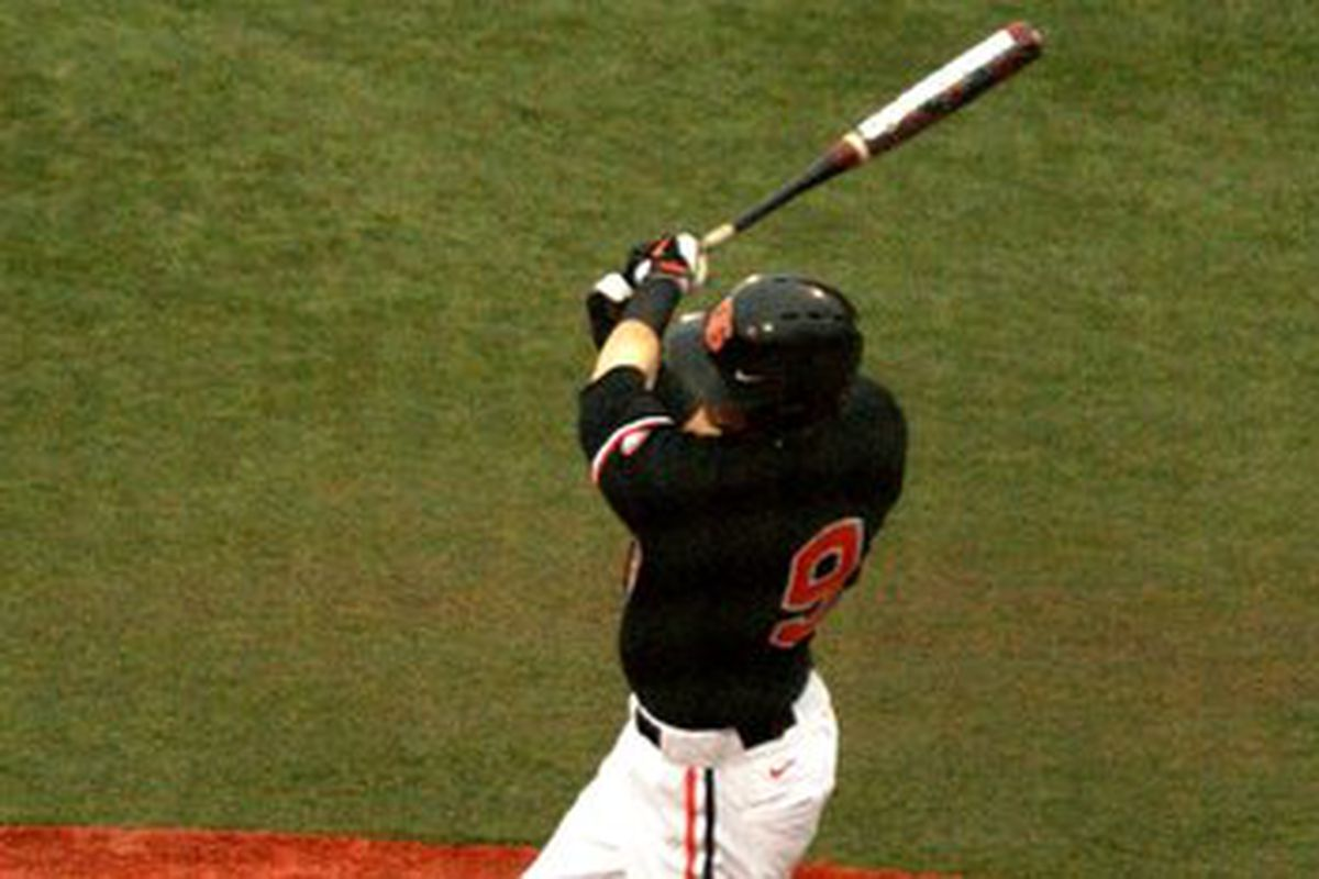 """Danny Hayes hammered a """"no-doubt"""" homer over the trees in right field to get Oregon St. off to a good start Sunday at Stanford."""