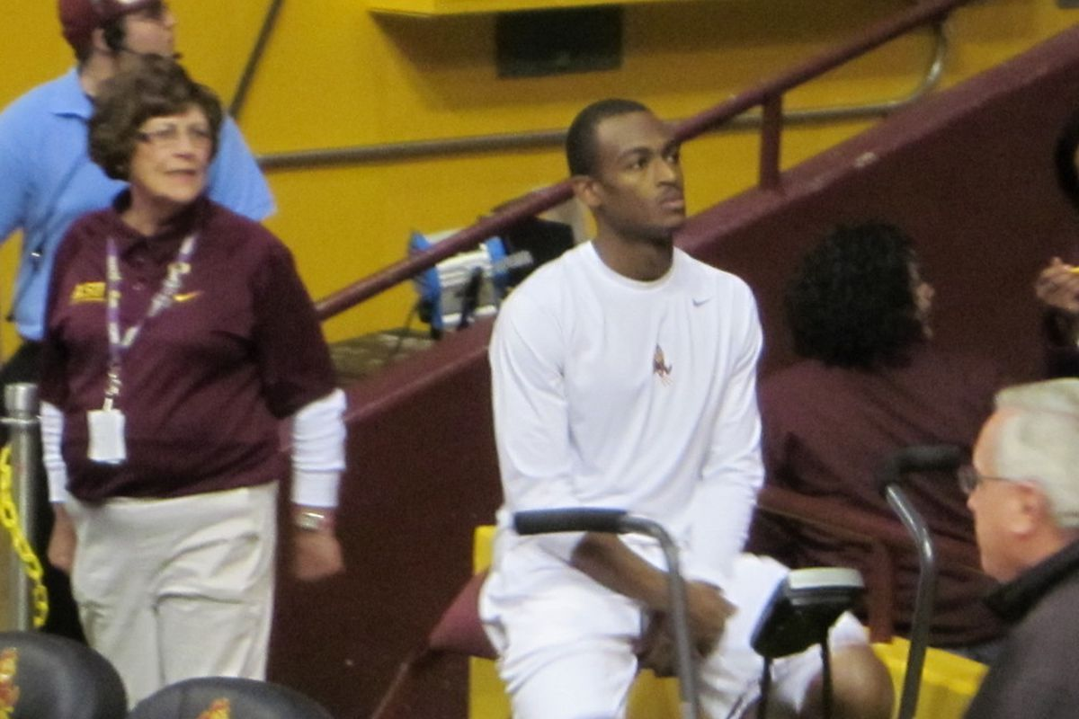 Jamelle McMillan got in some work on an exercise bike before Thursday's game, but didn't play.  (Jose Romero, SBN Arizona)