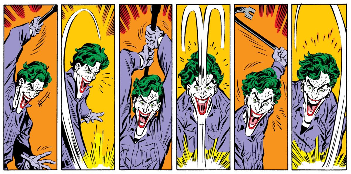 The Joker raises and viciously swings a crowbar over and over again in Batman #427, part of the A Death in the Family arc, DC Comics (1988).