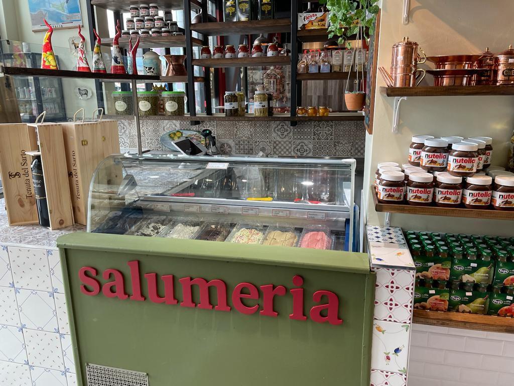 The gelato counter inside Menomale's new Salumeria