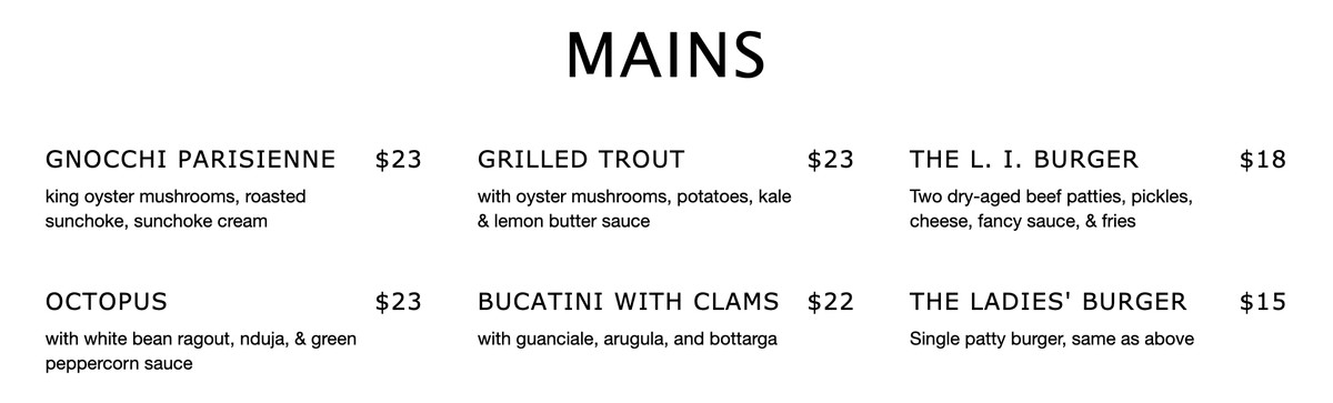 """A screenshot from an online menu with a large, all caps header that reads """"Mains."""" Underneath, there is a list of two rows of three entree items."""