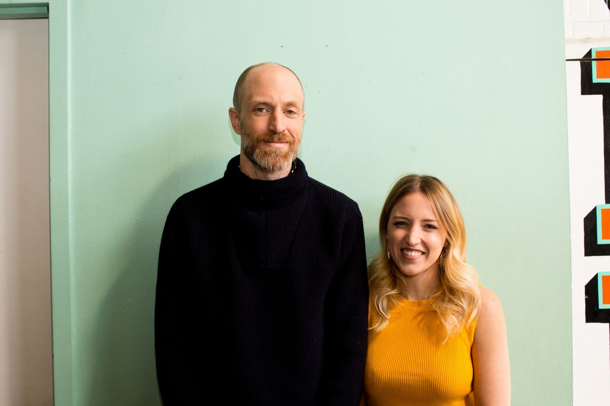 Dream Machine founders Gary Johnson (left) and Paige Solomon (right) on a turquoise background