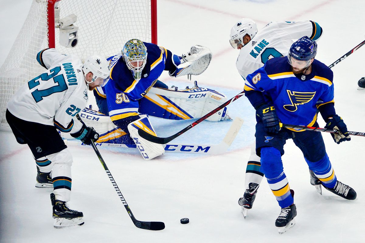 San Jose Sharks right wing Joonas Donskoi controls the puck in front of St. Louis Blues goaltender Jordan Binnington during the first period in Game 6 of the Western Conference Final of the 2019 Stanley Cup Playoffs.
