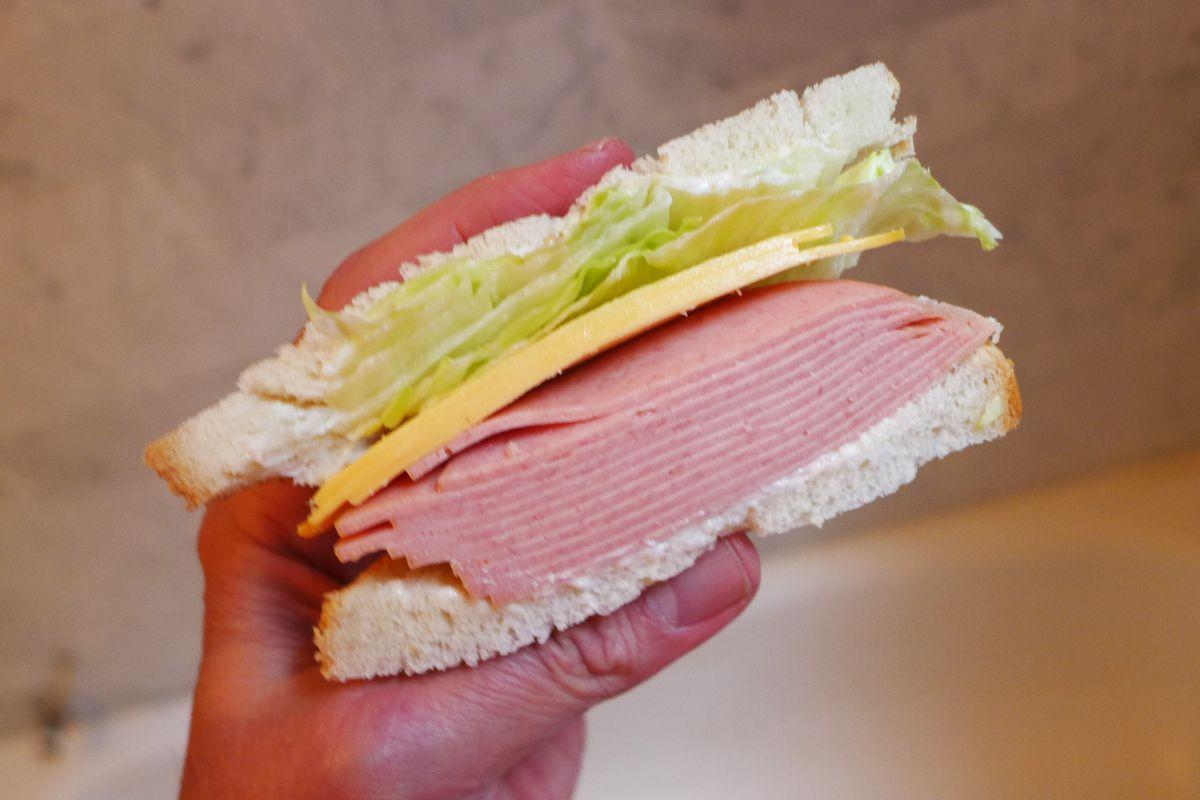 A hand holds a bologna and cheese sandwich aloft.