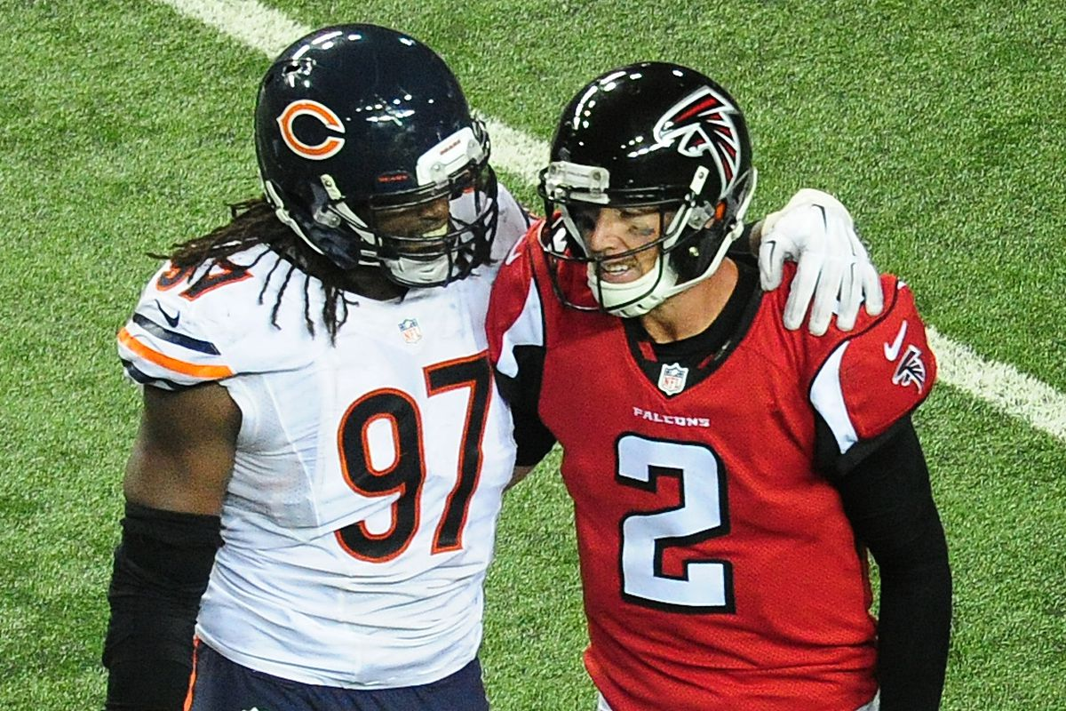 The bears den september 8 2017 windy city gridiron matt ryan 2 of the atlanta falcons and willie young 97 of the chicago bears talk after ryan was sacked at the georgia dome on october 12 2014 photo by biocorpaavc Choice Image