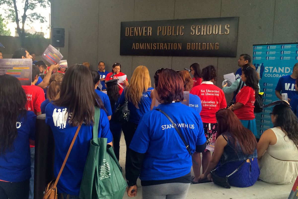 Parents from southwest Denver rallied outside a school board meeting last spring to demand better schools. Many of those same parents are expected  to meet with school board member Rosemary Rodriguez tonight.