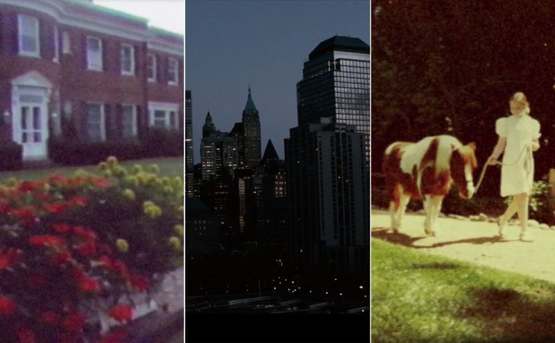 Multiple scenes from the opening credit of Succession on HBO. On the left is a country cottage, in the middle is a city skyline in the evening, on the right is a girl in a white dress walking a pony down a path.