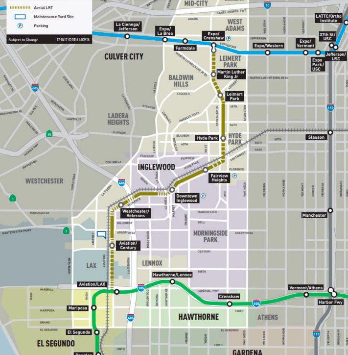 Crenshaw/LAX Line map