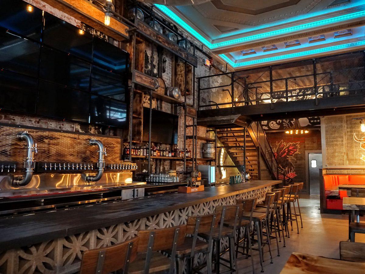 bar with big tv