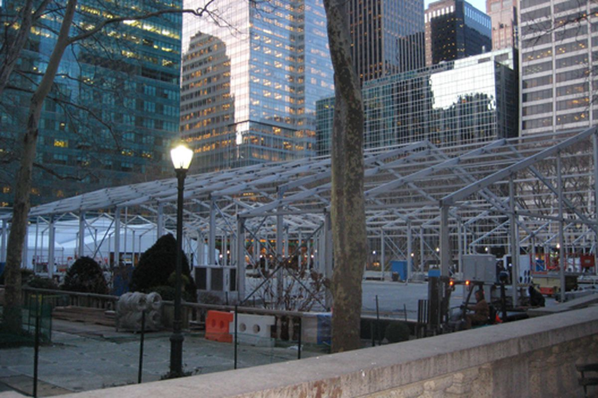 """The skeleton of the tent in Bryant Park via <a href=""""http://www.39thandbroadway.com/fashion-week/"""">39th and Broadway</a>"""