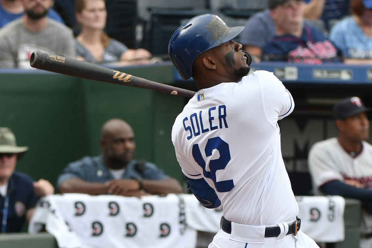 Jorge Soler #12 of the Kansas City Royals hits a home run in the first inning against the Minnesota Twins at Kauffman Stadium on September 29, 2019 in Kansas City, Missouri.