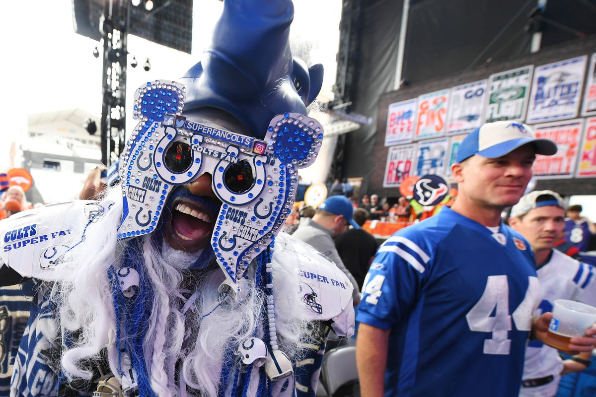 Indianapolis Colts fan prior to the start of the 2019 NFL Draft in Downtown Nashville.