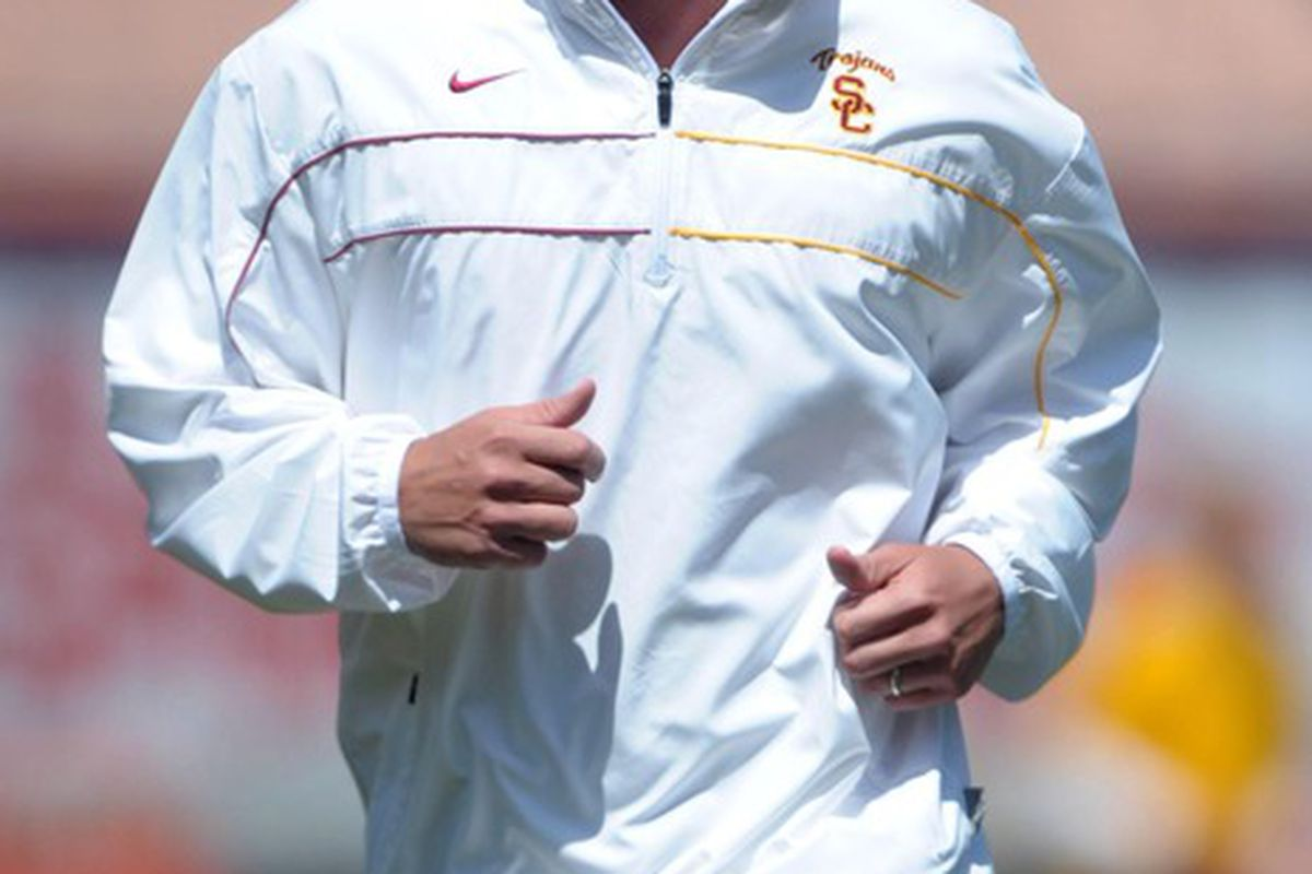 Apr 14, 2012; Los Angeles, CA, USA; Southern California Trojans coach Lane Kiffin at the 2012 spring game at the Los Angeles Memorial Coliseum. Mandatory Credit: Kirby Lee/Image of Sport-US PRESSWIRE