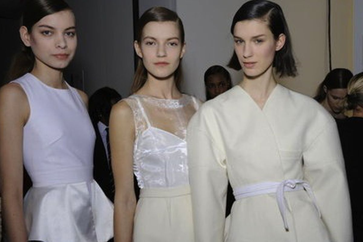 """Models backstage at the Peter Som fall 2012 show. Photo via <a href=""""http://www.newyorkgirlstyle.com/2012/09/06/peter-som-modern-classic-elegant-woman/"""">New York Girl Style</a>"""