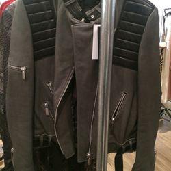 Leather motorcycle jacket, $418
