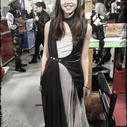 Carly Rose Sonenclar Steal in a vest by Mother of London, Goga dress, vintage jewelry and Giles for Nine West shoes.