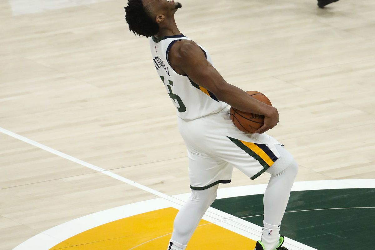 Utah Jazz guard Donovan Mitchell (45) screams with excitement as he leads the Jazz to a big lead during Game 4 of the NBA Playoffs at Vivint Smart Home Arena in Salt Lake City on Monday, April 22, 2019.